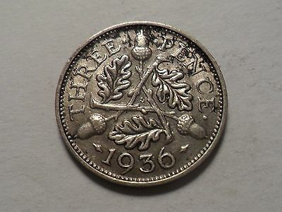 1936 Nice Great Britain 50% Silver Three Pence Mintage 3,239,000!!!