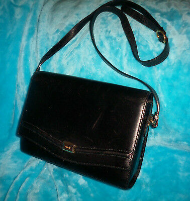 BALLY Vintage Black Leather Cross Body Bag - MADE IN ITALY