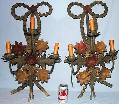 """Pair Large 28"""" Tall Vintage 3 Arm Lighted Metal Wall Sconces Flowers"""