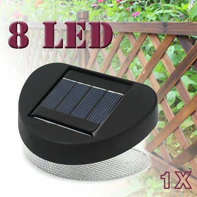 8LED Solar Power Fence Gutter Light Lamp Outdoor Garden Pathway Lights Yard Wall