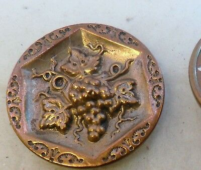 "NICE 1 1/16"" Grapes and leaves Backmarked Metal Antique Button 530:5"