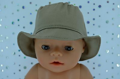 "Play n Wear Doll Clothes To Fit 17"" Baby Born TAUPE DRILL SUN HAT"