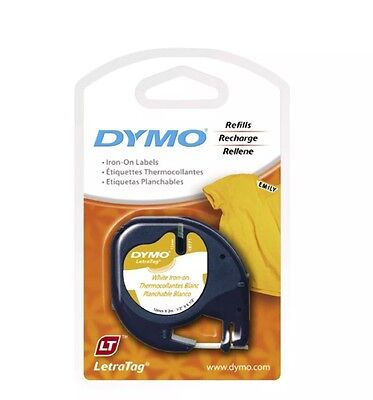 4 X DYMO Letratag Iron On Label Refill White 12mm x 2m Genuine.