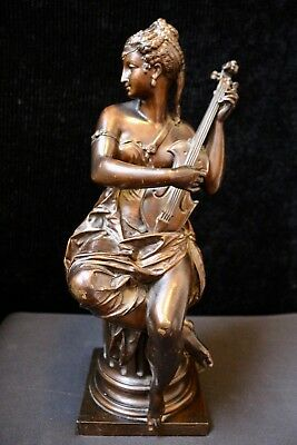 FANCIFUL ANTIQUE 19th CENTURY LARGE SIGNED CARRIER-BELLEUSE BRONZE STATUE
