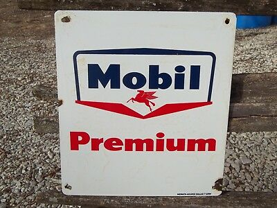Vintage Mobil Premium Porcelain Sign Pegasus Mcmath Axilrod Dallas 7-1954 Sign
