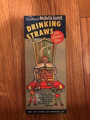 VINTAGE BOX OF SWEETHEART MOTHER GOOSE DRINKING STRAWS (Ole King Cole)