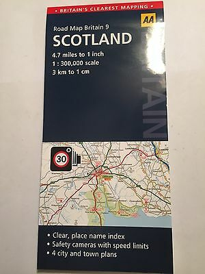 "LARGE FOLD-OUT ROAD MAP OF SCOTLAND ATLAS 1:300000 1cm:3Km 1"":4.7m SCALE NEW"