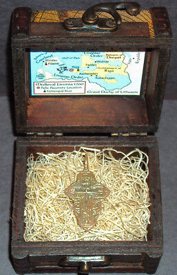 Ancient Late Medieval Bronze Cross Pendant Relic with Display Chest! 13-17th Cen