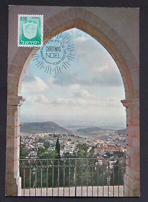 Israel 1967 Maxicard Nazareth view through arch postcard postmark Christmas