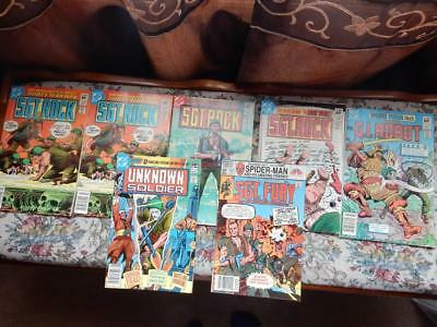 Lot Of 7 Bronze Age War Comics Including Sgt. Rock, Sgt. Fury, Unknown Soldier+