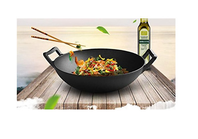 14-Inch Cast Iron Wok Pre-seasoned with Large Loop Handles and Flat Base New