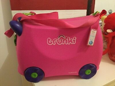 Trunki Ride On Suitcase Trixie Pink Kids Travel Luggage Toy Box