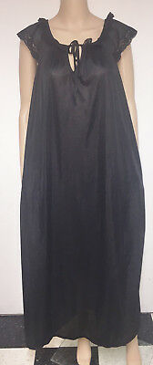 NWOT Vintage Undercover Wear Black Sheer Nylon Long Flowing Nightgown Lacy XXXL
