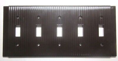1 Vintage Uniline Ribbed Brown Bakelite 5 Gang Switch Wall Plate Cover Art Deco