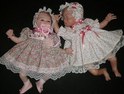 CRAFTYMALS  2 x SWEET  DRESS  SETS AND ACCESS. FOR SMALL REBORN DOLLS 14-16 ins
