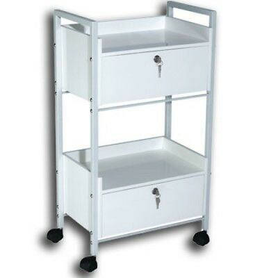 White Trolley 2 Draw Lockable  Beauty Therapy Medical Clinic Massage