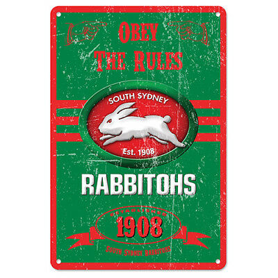 125019 South Sydney Rabbitohs Nrl Obey The Rules Retro Metal Tin Sign Pool Room