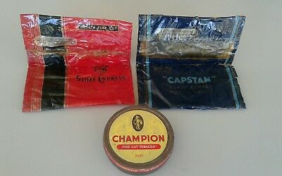 Australian  vintage tobacco items.  champion tin and 2 tobacco satchels.
