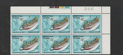 Christmas Island 1972-73 Definitive Ships. 3 MUH Blocks of 6 each. 5c, 8c & 9c.