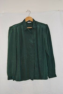 Green Katie's Retro 1980's Long Sleeve Shirt Shoulder Pads Secretary Oversized