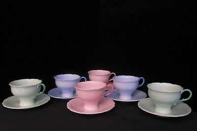Six (6) Sets of Paragon Cups and Saucers - (2) Blue, (2) Pink, (2) Green