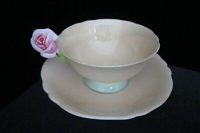 Rose Handle Paragon Cup & Saucer (Peach with Green Pedestal) - No Reserve
