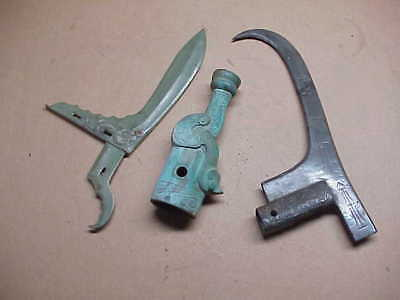 #770 Lot 3 Ancient Bronze Chinese Weapons Dagger Sword Blunt Post Finial Dragon