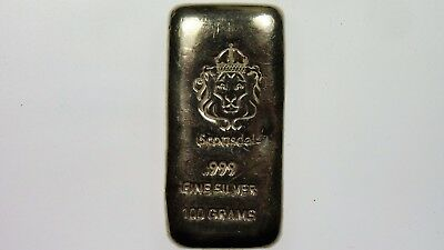 Scottsdale 100 Grams 999 Fine Silver Bullion Bar