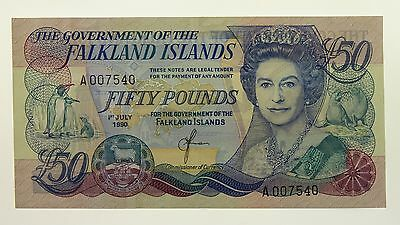 Falkland Islands 1990 Fifty Pounds Banknote in About Uncirculated Condition