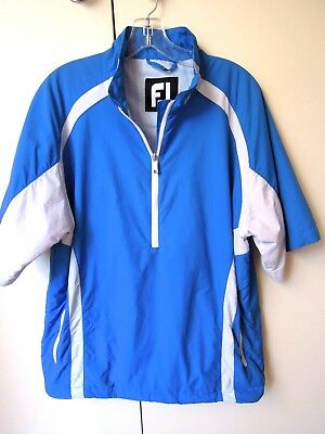 FJ  FOOTJOY  Blue / White  GOLF TOP   *MEDIUM    Lined    SHORT SLEEVES