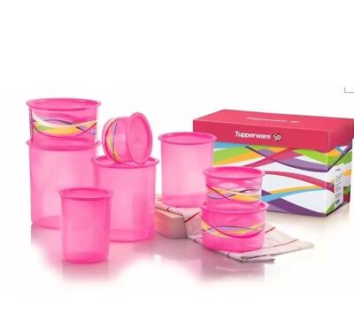 Brand New - Tupperware One Touch Pink Canister Set - RRP $214