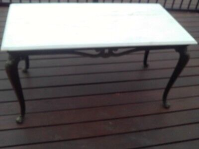 Vintage  Marble Top Coffee Table Gold Brass Base And Legs