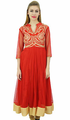 Bimba Women's Designer Anarkali Wedding Red Embroidered Net Kurta Dress
