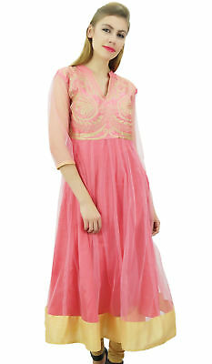 Bimba Women's Designer Anarkali Wedding Pink Embroidered Net Kurta Dress