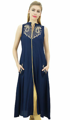 Bimba Women's Designer Sleeveless Navy Blue Embroidery A-Line Kurta Kurti