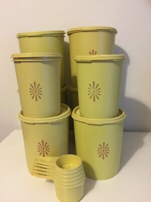 TUPPERWARE - Harvest Gold 8 Cannisters & Measuring Cups - Vintage Containers