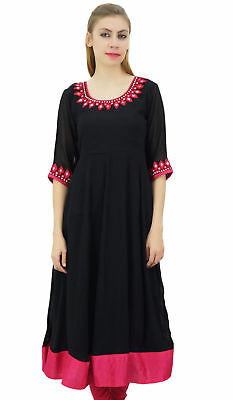 Bimba Women's Black Embroidered Anarkali Georgette Indian Ethnic Clothing