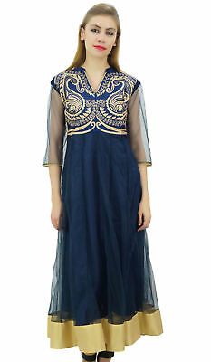 Bimba Womens Designer Anarkali Wedding Navy Blue Embroidered Net Kurta Dress