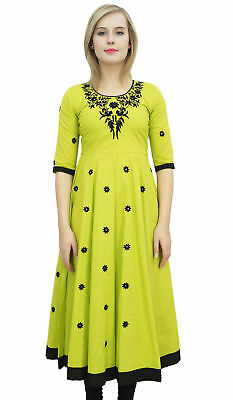Bimba Women's Designer Yellow Tunic Cotton Embroidered Anarkali Kurti Dress