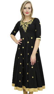 Bimba Women's Designer Black Tunic Cotton Embroidered Anarkali Kurti Dress