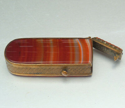 Antique Victorian C19th AGATE Mounted Novelty Vesta Match Strike Safe Old NR