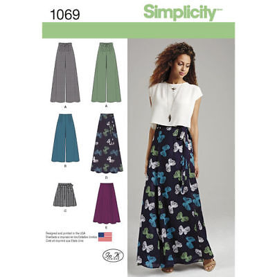 Simplicity Sewing Pattern 1069  Misses 4-12 Wide Leg Pants Shorts and Skirts