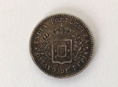 Portugese India 1/4 Rupee 1881 in VF Condition #MCC