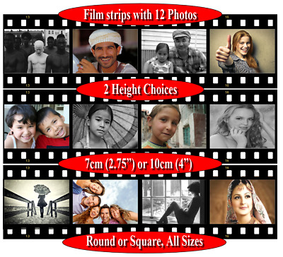 Personalised photo picture, pre-cut cake wrap side film strip border 12 images