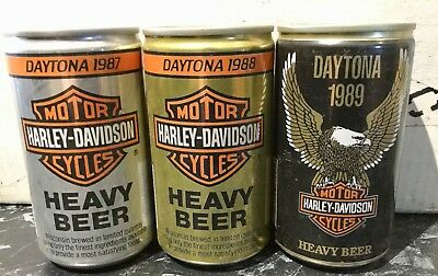 Harley Davidson. 12FL.OZ. Collector Beer Cans. x 3 Different. Daytona.