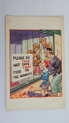 1940s Post WW2 Vintage Comic Postcard War Egg Food Rationing Monkey House Zoo
