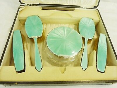 VINTAGE 1930s DRESSING TABLE SET IN PROTECTIVE BOX, HALLMARKED SILVER       #CR#