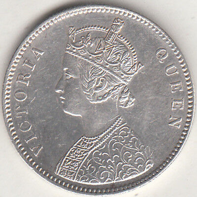 British India Victoria Queen 1862 {A-2, 0/6 Dot} Rupee Silver Coin Nr.about Unc