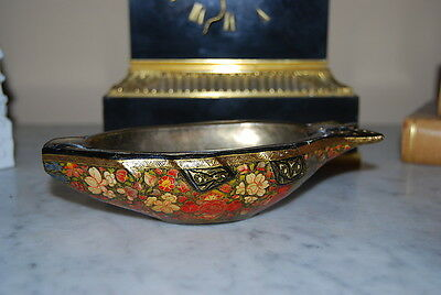 Wonderful Early Brass And Wood Hand Painted Russian Style Fish Shape Ash Tray