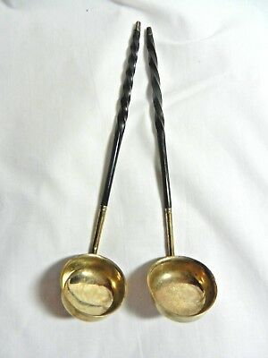 A Pair Of Victorian Solid Silver Toddy Ladles,william Knight 1846.